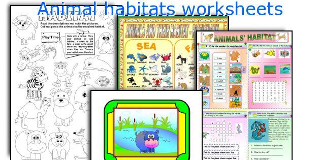 English teaching worksheets: Animal habitats