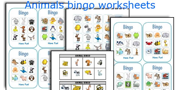 Animals bingo worksheets