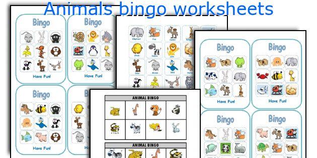 Animals bingo worksheets