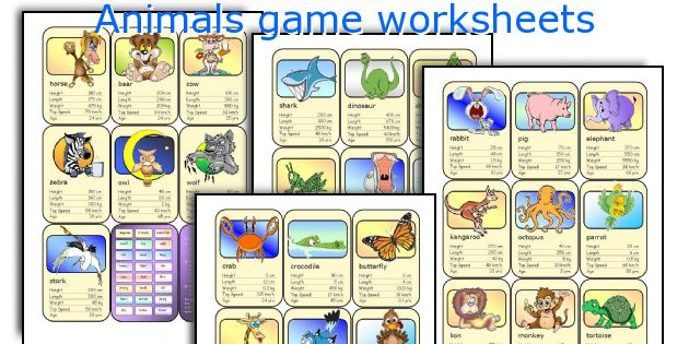 Animals game worksheets