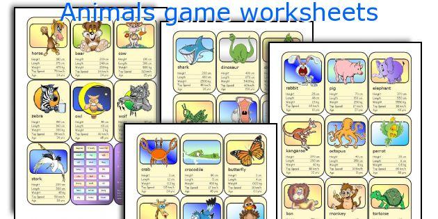 Animals game worksheets