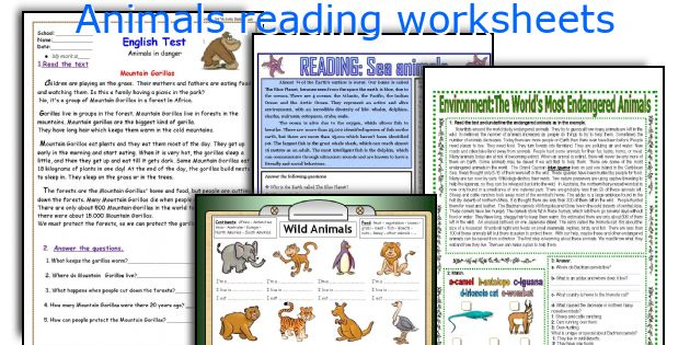 Animals reading worksheets