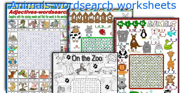 Animals wordsearch worksheets