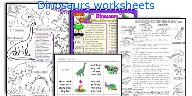 Dinosaurs worksheets
