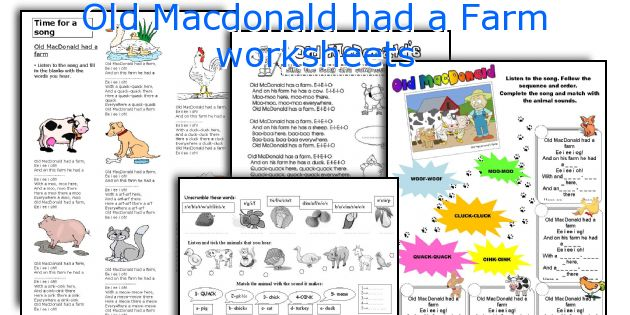 Old Macdonald had a Farm worksheets