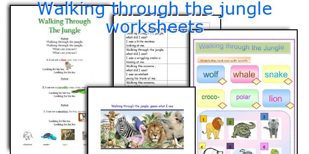Walking through the jungle worksheets