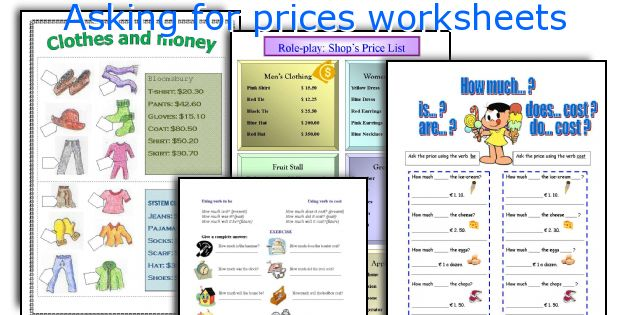 Asking for prices worksheets