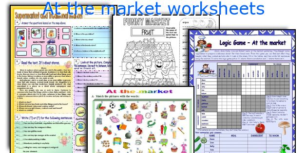 At the market worksheets