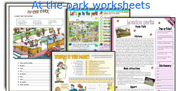 At the park worksheets