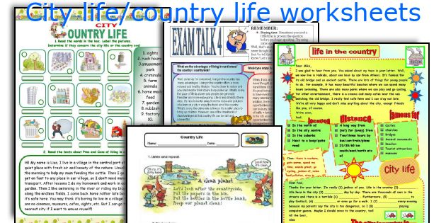 City life/country life worksheets