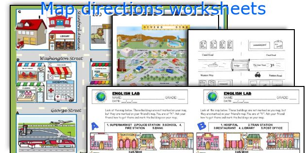 English teaching worksheets: Map directions