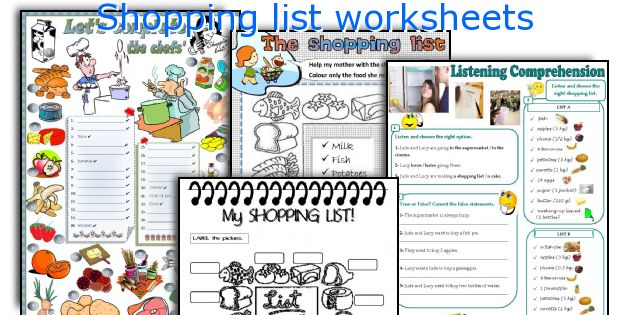 English teaching worksheets Shopping list – Shopping Worksheets
