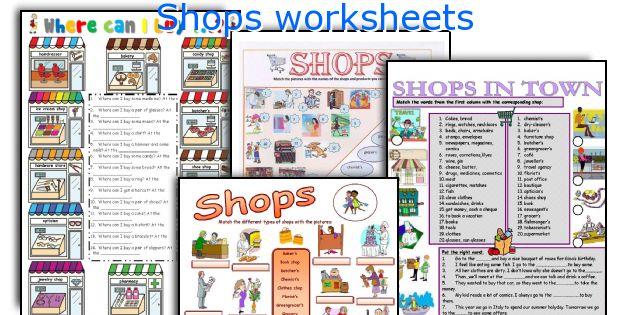 Shops worksheets