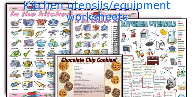 Kitchen utensils/equipment worksheets