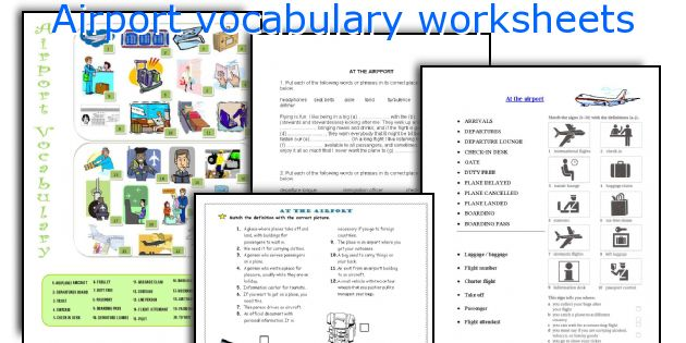 Airport vocabulary worksheets