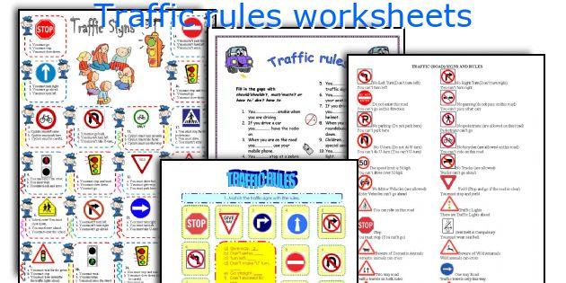 Traffic rules worksheets