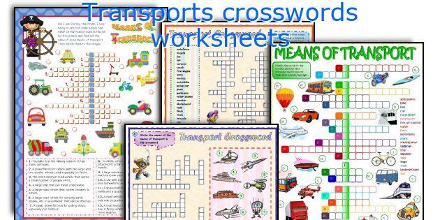 Transports crosswords worksheets