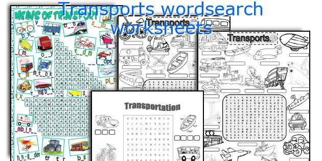 Transports wordsearch worksheets