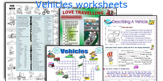Vehicles worksheets