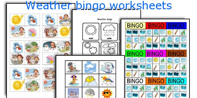 Weather bingo worksheets
