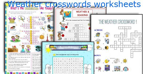 Weather crosswords worksheets