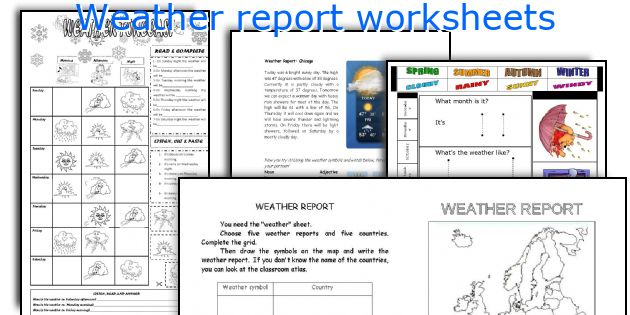Weather report worksheets