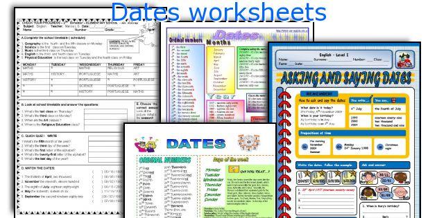 Dates worksheets
