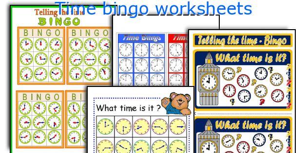 Time bingo worksheets