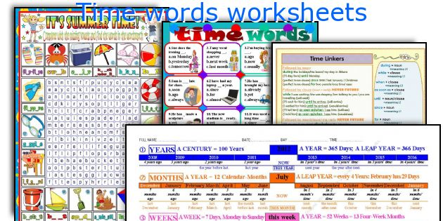 Time words worksheets