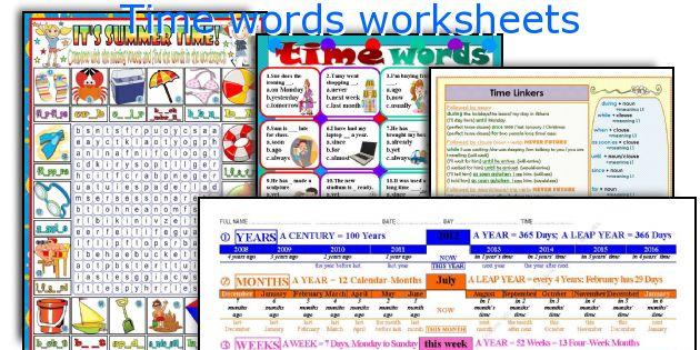 Time words worksheets