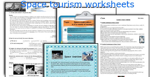 Space tourism worksheets