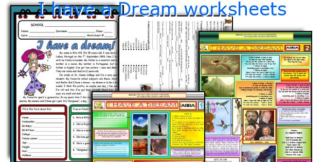 I have a Dream worksheets