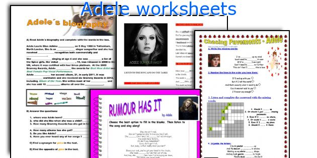 Adele worksheets