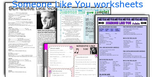 Someone Like You worksheets
