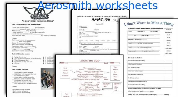 Aerosmith worksheets