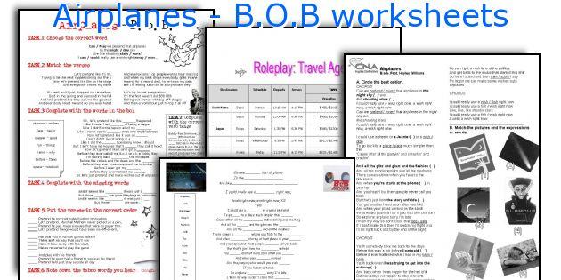 Airplanes - B.O.B worksheets