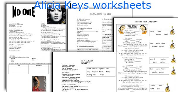 Alicia Keys worksheets
