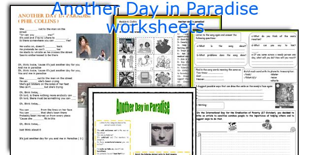 Another Day in Paradise worksheets