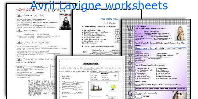 Avril Lavigne worksheets