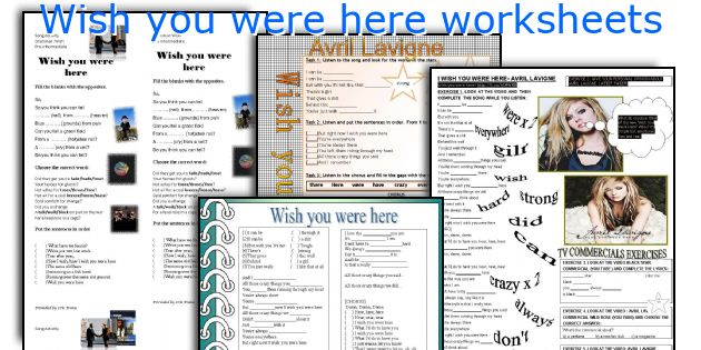 Wish you were here worksheets