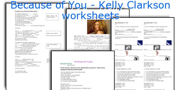 Because of You - Kelly Clarkson worksheets