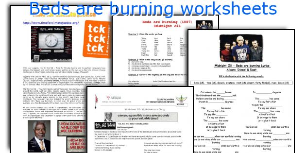 Beds are burning worksheets