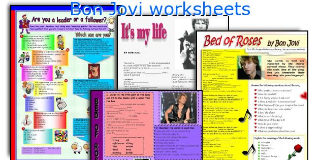 Bon Jovi worksheets