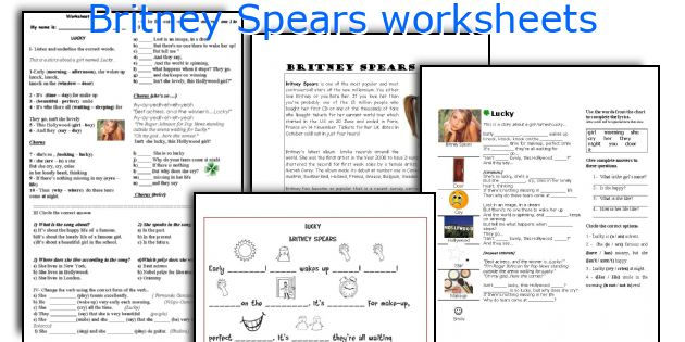 Britney Spears worksheets