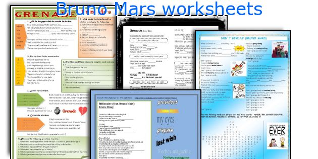 Bruno Mars worksheets