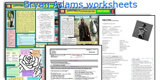 Bryan Adams worksheets