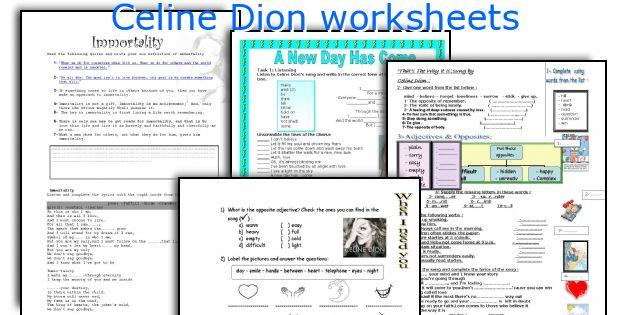 Celine Dion worksheets