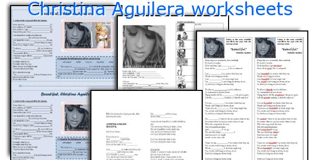 Christina Aguilera worksheets