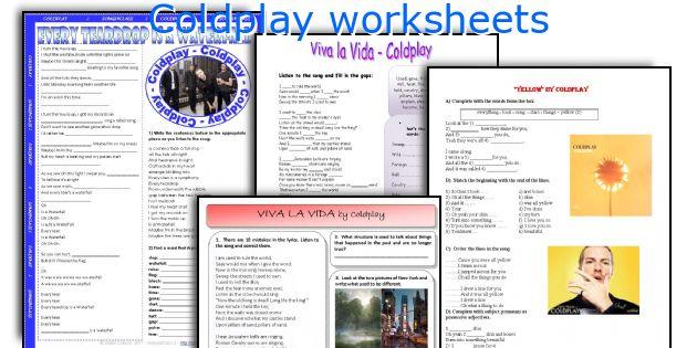 Coldplay worksheets