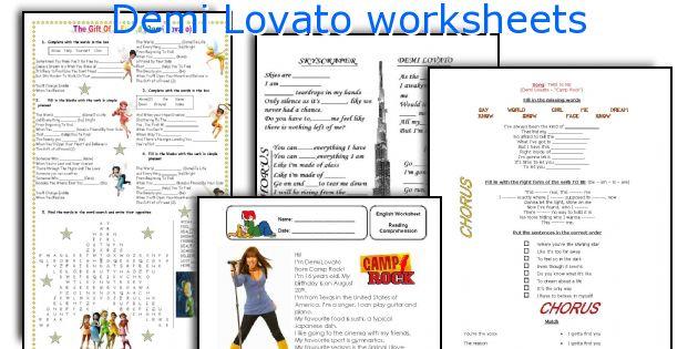 Demi Lovato worksheets